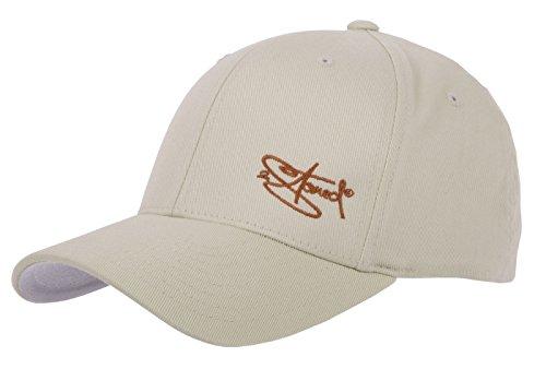 2Stoned Flexfit Cap Beige mit Stick, Größe XS (55 cm - 57 cm), Basecap für Damen, Herren und Kinder -