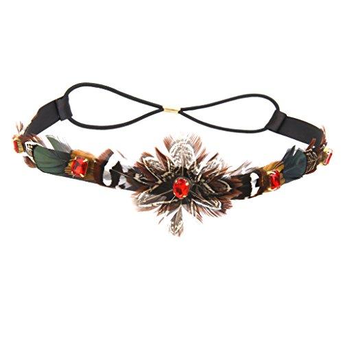 Cinturón de borlas de pluma para mujer trenzadas diadema estilo bohemio Beige - Negro, /