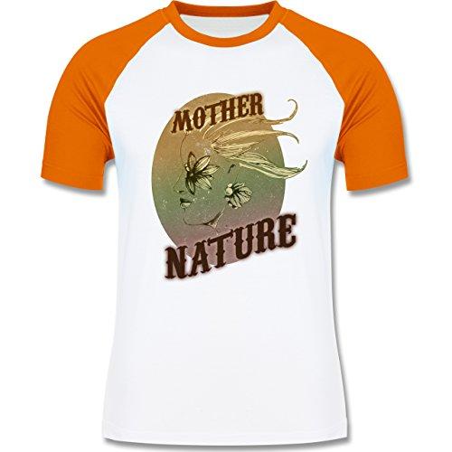 Vintage - Mother Nature - zweifarbiges Baseballshirt für Männer Weiß/Orange