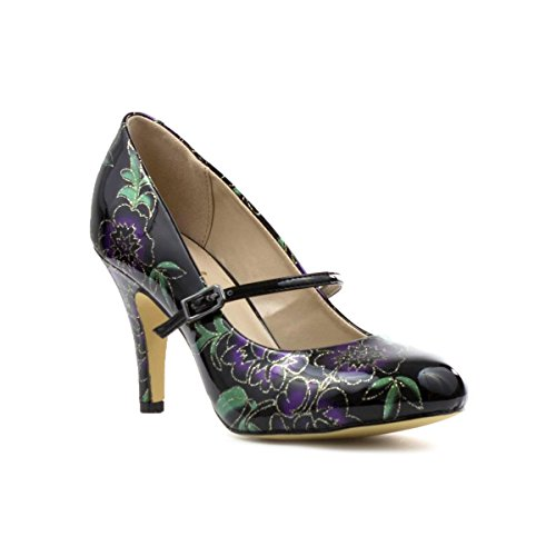 Lotus Womens Black Patent Floral Bar Court Shoe - Size 3 UK...