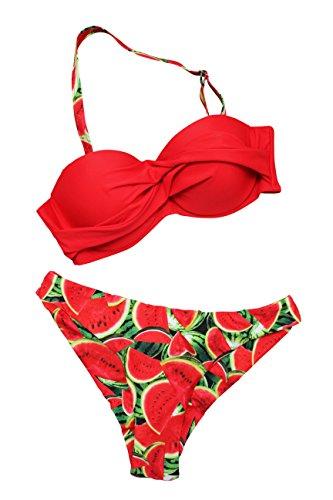 FERETI Roten Bikini Mit Wassermelone Rot Obst Wassermelone Badeanzug Gestempelt Melone Wasser (L)