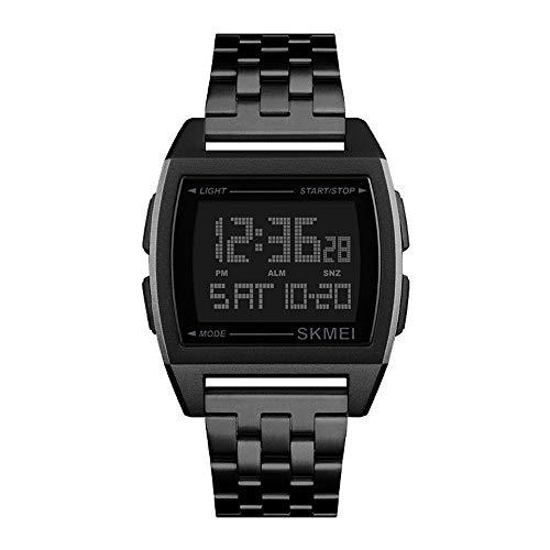 Herrenuhren Multifunktion Outdoor Rechteckig Metall Zifferblatt Digital Armbanduhren für Herren Edelstahlband Business Sport, Schwarz