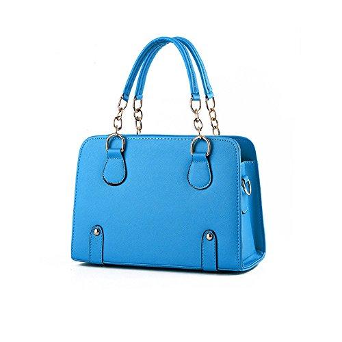 DELEY Mode Frauen Kette Dekorieren Süßigkeiten Farbe Office Tote Handtasche Umhängetasche Himmelblau