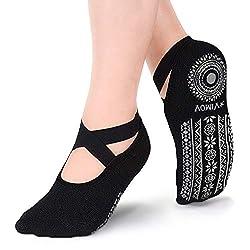 VIMOV 2 Parr Yoga rutschfeste Socken for Damen, Ideal for Schwarz Grip Socken for Fitness, Pilates, Ballett, Tanz, Barre, Workout, Sports