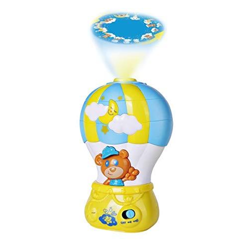 Happkid Luftballon nachtlicht Baby projektor Lampe stimmungslicht babybett Spielzeug mit Musik und Licht, Schlafspielzeug mit farbigen Projektor und Melodien für Baby