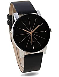 DAIZEL Round Dial Premium Quality Series Analogue Black Dial Black Leather Strape Fashion Wrist Watch For Women...
