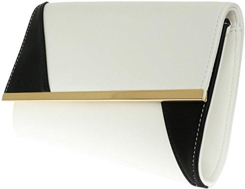 H&G Damen Kunstleder asymmetrische Clutch Bag zwei Ton Frame Abend Party Prom-Tasche (grau) White Black