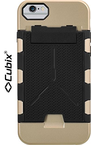 Cubix® Shock proof case for Apple iPhone 6 Fusion Series Back Cover Slim Armor Case Card Slot Rugged Case 4 Side Protection - Gold  available at amazon for Rs.799