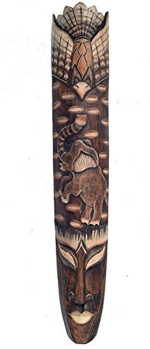 Pared Máscara 100cm con diseño de elefante madera Máscara Máscara Elefantes
