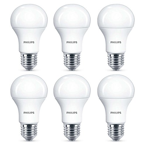 6x Philips LED Frosted E27 75w Warm White Edison Screw Light Bulbs Lamp 1055Lm -