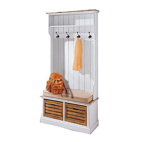 Garderobe mit Sitzbank Weiß Holz Pharao24