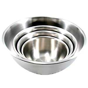 (Set of 4) LARGE Stainless Steel Mixing Bowls Standard Weight *Mirror Finish* 13, 16, 20, and 30 Qt.