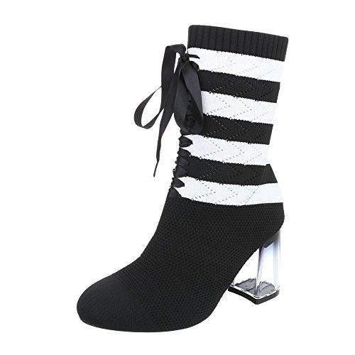 Ital-Design High Heel Stiefeletten Damen-Schuhe High Heel Stiefeletten Pump High Heels Stiefeletten Schwarz Weiß, Gr 38, 2858-