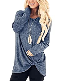e119f317faf Xpenyo Women s Long Sleeve Tops Twisted Sweatshirt Loose T Shirt Blouses  Tunic Tops