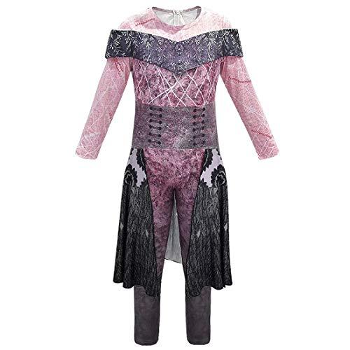 Erwachsene Kinder Audrey/Mal/Evie/Jay/Carlos Cosplay Kostüm Halloween Cosplay Overall Set 3D Gedruckt Jumpsuit Set Mädchen Maskerade Halloween Fancy Dress für Erwachsene, Inklusive (Halloween City Kostüm Für Erwachsene)