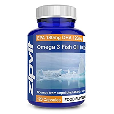 Omega 3 Fish Oil 1000mg | 120 Softgels | EPA 180mg DHA 120mg | Supports Heart, Brain Function & Eye Health
