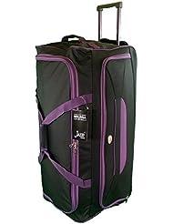 Très grande taille Sac de voyage 105L de Voyage valises souples. Noir avec garniture pourpre. Bagagerie