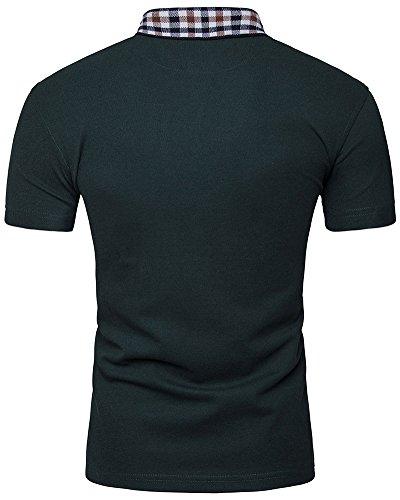 Herren Plain Poloshirt Kurzarm Slim Fit Polo T-Shirt Armee-Grün