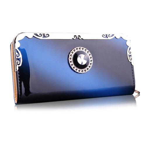 I8Q Donne Slot raccoglitore casuale supporto di carta di borsa in pelle con cerniera frizione borsa lunga blu