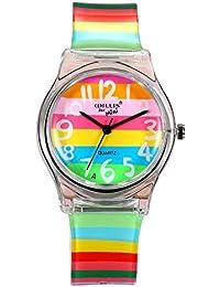 Lancardo Reloj Analógico de Cuarzo con Rainbow Dial y Correa Colorido de Arco Iris de Silicona Pulsera Electrónica de Moda Esfera Transparente Impermeable de 1ATM Casual para Mujer Chica