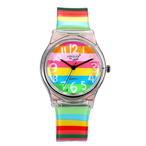 7a3c4b2a9c7d LANCARDO Reloj Analógico de Cuarzo con Rainbow Dial y Correa Colorido de  Arco Iris de Silicona