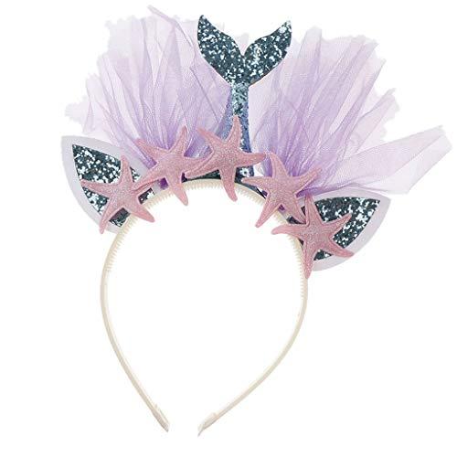 Magische Kinder Meerjungfrau Rosa Kostüm - B Blesiya Meerjungfrau Haarreif Haarband Stirnband Haarschmuck mit Seesterne Dekoration für Partys und Alltag - blaues Schwanz rosa Seestern