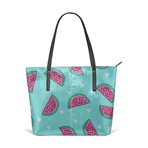 hulili Frauen aus weichem Leder Tote Umhängetasche Wassermelone Sommerfrüchte Cute Fruit Food Sommer Tropical By - Blau und Pink Mode Handtaschen Satchel Geldbörse