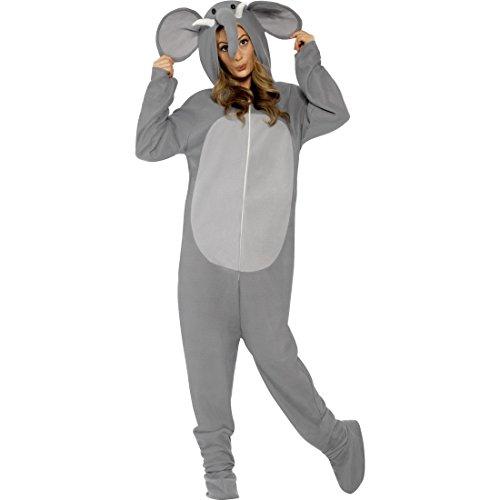 NET TOYS Elefant Jumpsuit Elefanten Kostüm L 44/46 Ganzkörper Elefantenkostüm Tierkostüm Overall Zoo Elefantkostüm Tier Faschingskostüm Karneval Kostüme Damen