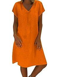 3b4f87d8424 Women Vintage Summer Linen Dresses Boho Casual Kaftan Feminino Vestido  Short Sleeve Sundress Loose T-