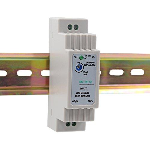 Auforua® Hutschienen Netzteil LED Trafo 230VAC / 12V DC 1.25A 15W; Konstantspannung DIN-Schiene Netzteil für LED Produkte 12V DC; Schaltnetzteil Hutschienennetzteil