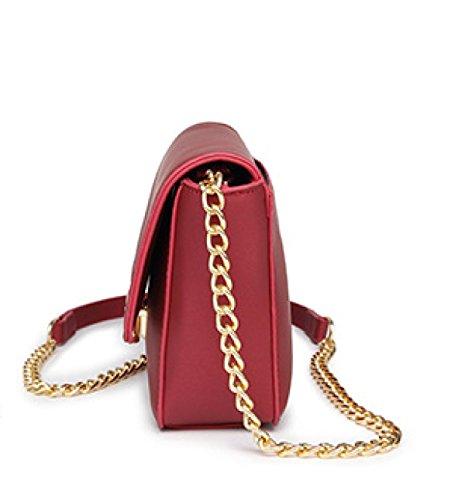 Frauen-Schulter-Kurier-Beutel-Kette Kleine Quadratische Beutel-Wölbung PU-lederner Tote-Handtaschen-Kreuz-Körper-Beutel Red