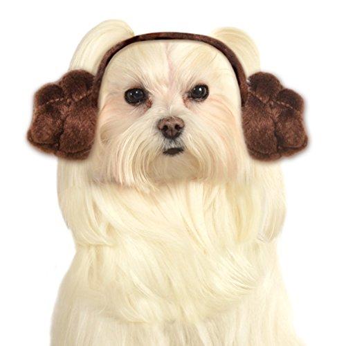 Star Wars Hund Haarband Prinzessin Leia Buns, mittelgroß und groß (Elvis-hund Halloween-kostüme)