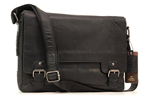 Borsa Messenger in Pelle Notebook Ashwood - 8343 - Nero