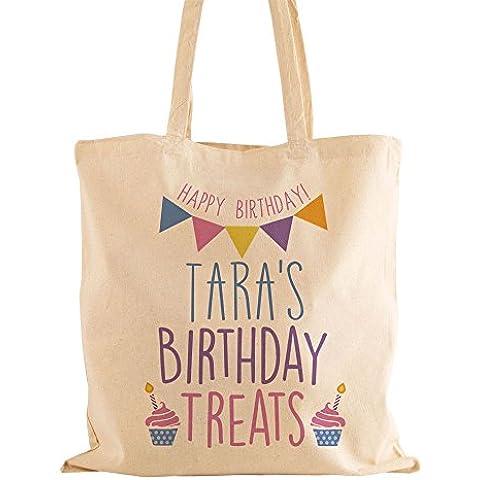 Personalizzato Bambina Cotone con dolci di compleanno Bag riutilizzabile, con manici, idee regalo per lei