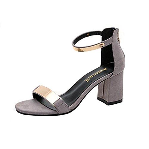 UFACE Frauen Sandalen Sandalen Sommer Sandalen Offene Spitze Frauen Sandalen Starke Ferse Schuhe Gladiator Schuh (38, Grau)