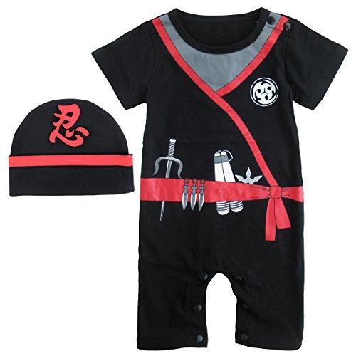 Mombebe Baby Jungen Ninja Halloween Kostüm Strampler mit Hut (0-6 Monate, Ninja) (Halloween-cos)