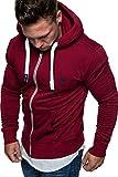 Amaci&Sons Herren Zipper Kapuzenpullover Sweatjacke Pullover Hoodie Sweatshirt 1-04029 Bordeaux S