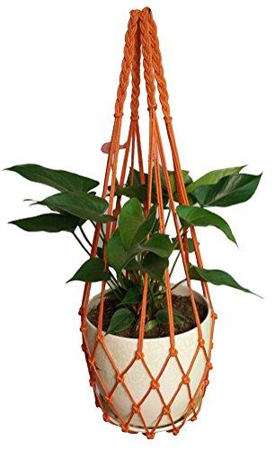 H-made 4 pieds Orange 4 mm corde en nylon spécial solide Plante macramé Suspension Compatible avec 8-25,4 cm Pots