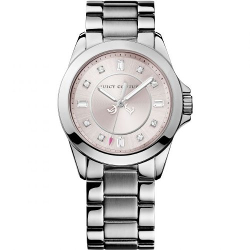 Juicy Couture Stella Women's Quartz Watch with Pink Dial Analogue Display and Silver Stainless Steel Bracelet 1901034