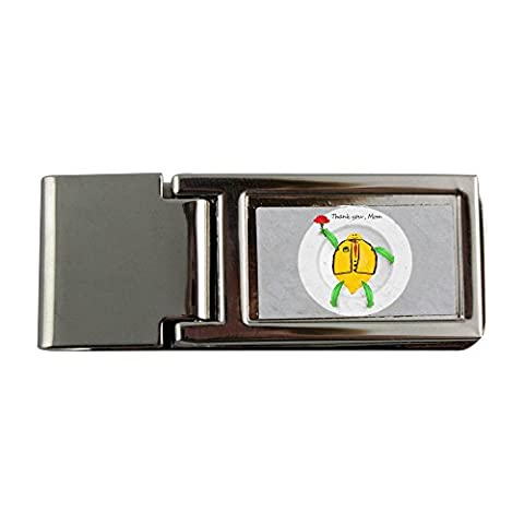 Metal money clip with This is one of Thank you Mom series for the coming Mother s Day. The image which depicts a white plate with the image which includes the word Thank you Mom and a cartoon characte