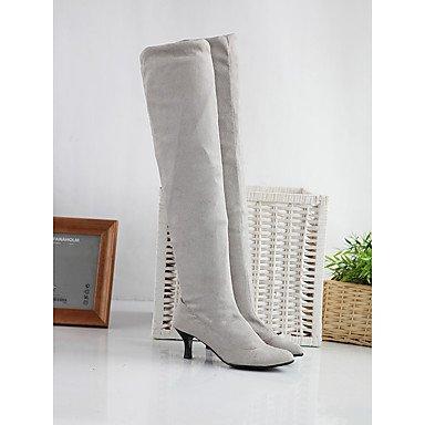 LFNLYX Damen-Stiefel-Outddor / Büro / Lässig-Kunstleder-Stöckelabsatz-Absätze / Spitzschuh / Modische Stiefel-Schwarz / Braun / Grau gray