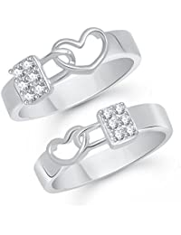 VK Jewels Alloy Cz American Diamond Silver Brass Couple Ring for Men and Women (Vkcplfr1029R_12F_22M)