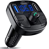 Clydek Bluetooth 5.0 Auto-FM-Transmitter, drahloser Audio-Transmitter, Adapter Car Kit mit QC3.0 und Schnellladung...