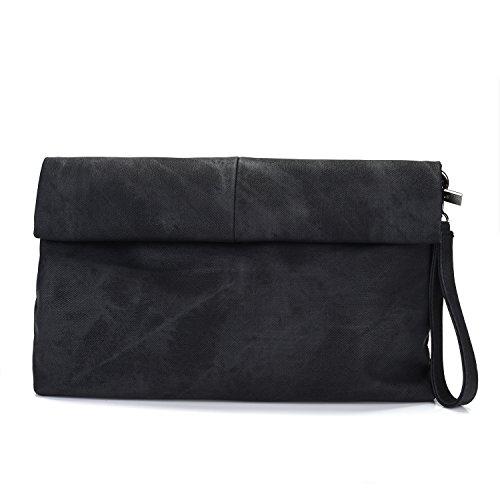 VRLEGEND Messenger Handtasche Damen Tasche Vintage Damen Leder Schultertasche Abendtasche Envelope Clutch mit Schulterriehmen und Trageschlaufe (Schwarz) (Clutch Damen Portemonnaies Handtasche)