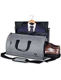 Suit Bag, UNIQUEBELLA Suit Carrier Suit Travel Bag Garment Bag Convertible into Duffel Bag Overnight Weekend Flight Bag for Men Women, with Shoes Compartment and Multiple Pockets