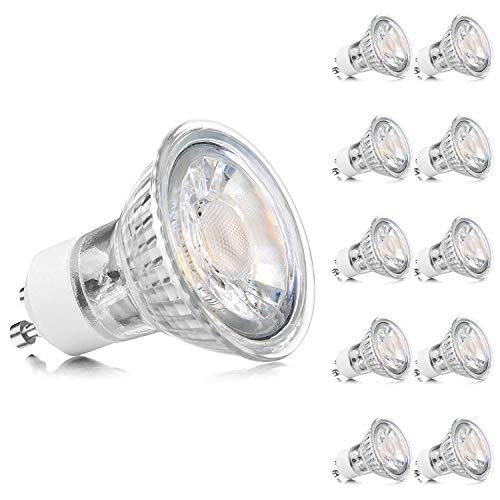 Ascher 10er Pack GU10 LED Lampe, Ersetzt 60W Halogenlampen (5W), 450 Lumen, Warmweiß (2900K), GU10 LED Birnen, GU10 5W COB LED Leuchtmittel