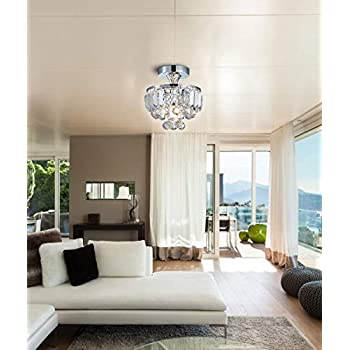 Bestier Modern Chrome Crystal Semi Flushmount Chandelier Lighting LED Ceiling Light Fixture Lamp for Dining Room Bathroom Bedroom Livingroom