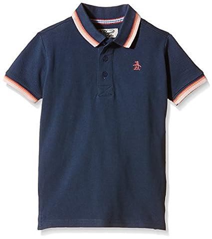 Original Penguin Boy's Tipping Plain Polo Shirt, Blue (Dark Denim),