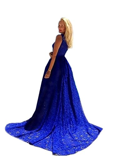 HYHAN Dames printemps et été dentelle mode bleu grande robe sans manches robe jupe de plage (bleu) Blue