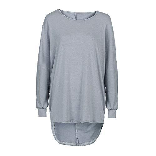 VEMOW Damenmode Tasche Lose Kleid Damen Rundhalsausschnitt beiläufige Tägliche Lange Tops Kleid Plus Größe(Y3-Grau, EU-48/CN-XL)